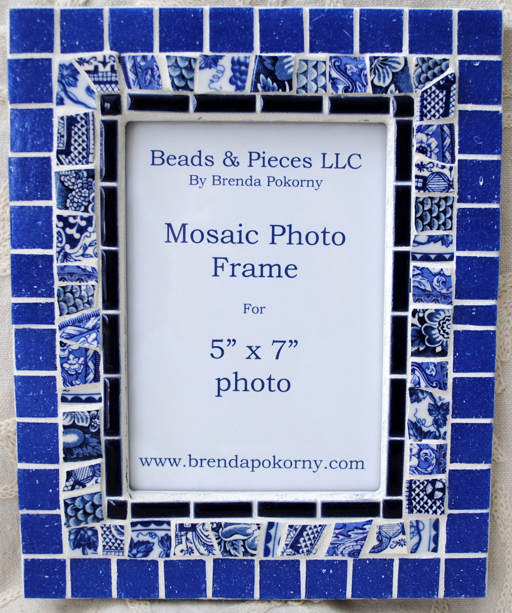 "MOF1464 Blue and White 5"" x 7"" Mosaic Photo Frame"