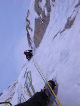 Photo: Twin runnels on Moonflower Buttress