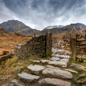 Devil's Gate by Mike Shields - Landscapes Mountains & Hills ( mountains, sky, cwm idwal, steps, capel curig, rocks, gate )