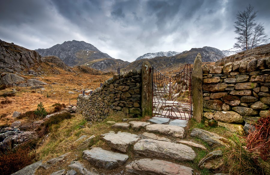 Devil's Gate by Mike Shields - Landscapes Mountains & Hills ( mountains, sky, cwm idwal, steps, capel curig, rocks, gate )