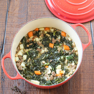 Tuscan Style White Bean, Sausage and Kale Soup.
