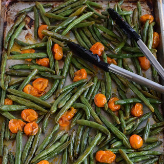 Oven Roasted Green Beans with Tomatoes