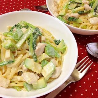 Avocado Cream Pasta with Chicken and Komatsuna (Japanese Mustard Spinach)