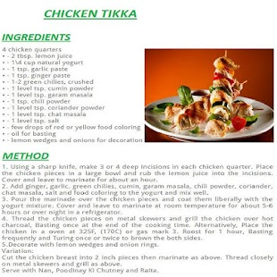 Chicken Tikka English Recipes Screenshot Thumbnail