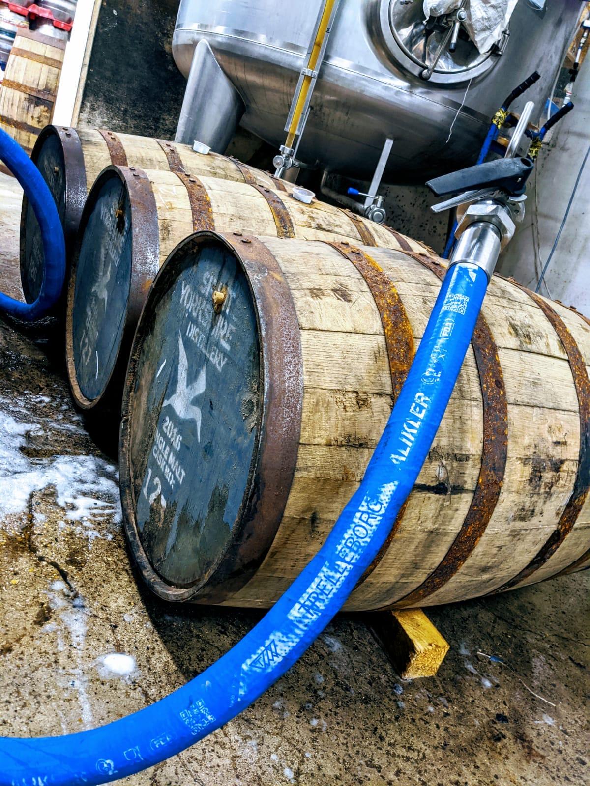 Ex-whisky casks being filled for our next barrel-aged beer!