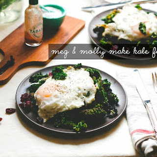 Kale Salad With Cranberries, Garlic, Shallots, And An Egg