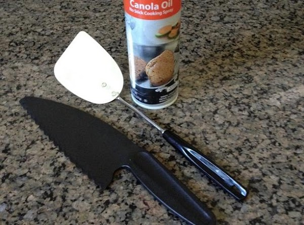 Coat pan and spatula. Use plastic knife for easy cutting.