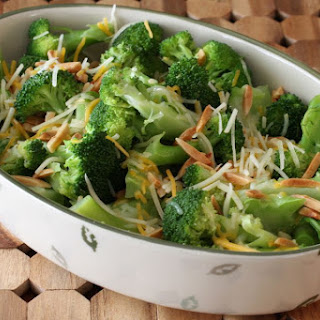Quick Broccoli With Cheese and Toasted Almonds.
