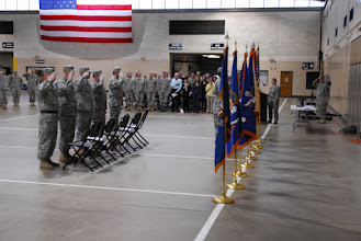 Photo: The 34th Combat Aviation Brigade held a Change of Command Ceremony May 21 at the Cedar Street Armory. The passing of a saber signified the passing of responsibility from outgoing Command Sgt. Maj. Gery Thesing to the incoming Command Sgt. Maj. James Kampsen.