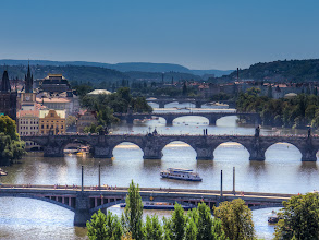 Photo: Bridges over Vltava river in Prague  The second bridge in this photo is Charles bridge (Karlův most). It is a beautiful bridge open only to pedestrians. It's decorated with a lot statues and definitely a place to see when in Prague.   +BridgesOverTuesday #bridgesovertuesday curators: +Steve Boyko +Clare Bambers