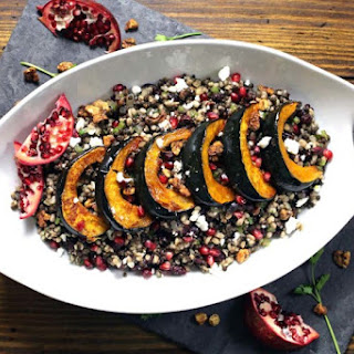 Farro and Black Lentil Salad with Dried Fruits and Roasted Acorn Squash