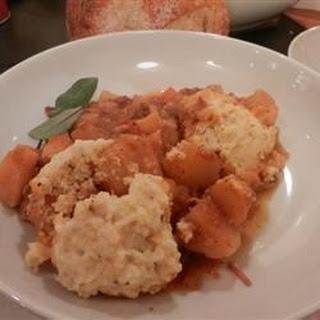 Pork Rib Stew with Sage Cornmeal Dumplings.