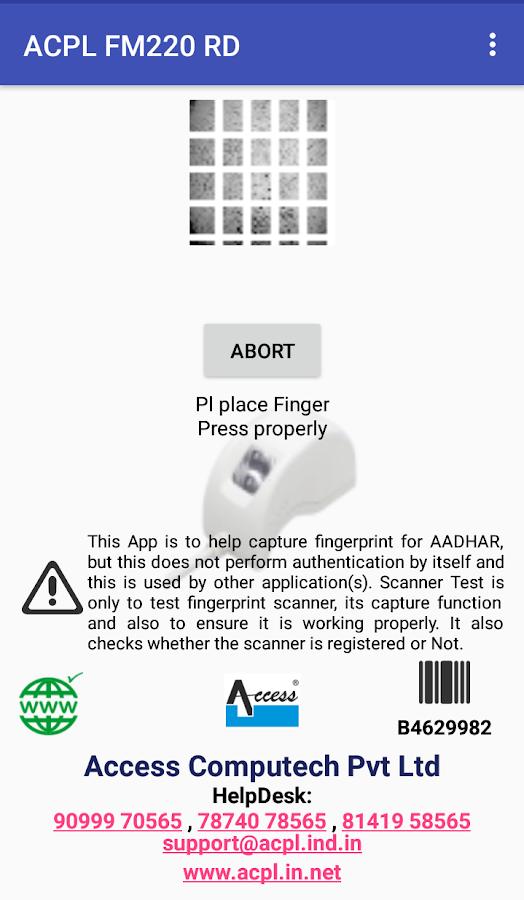 aadhar card fingerprint scanner app