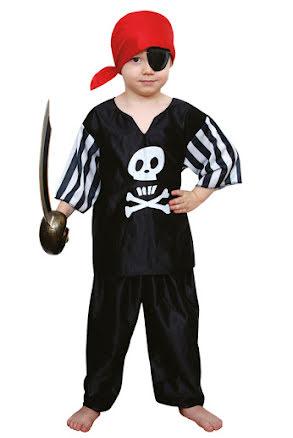 Svart piratdräkt, barn L