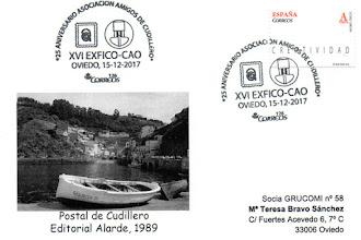 Photo: Tarjeta con el matasellos del 25 aniversario de Amigos de Cudillero y la XVI Exposición de coleccionismo del Centro Asturiano