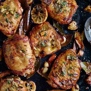Golden Chicken Thighs with Charred-Lemon Salsa Verde