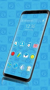 Cute Blue Cat--APUS Launcher Free Theme - náhled