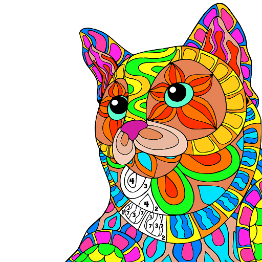 Cats Color by Number - Animals Coloring Book pages Icon