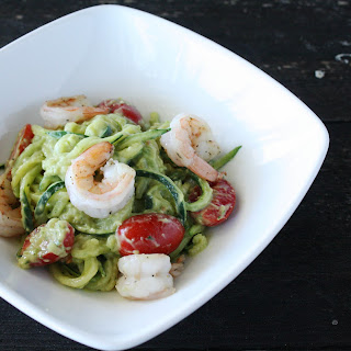 Zucchini Pasta with Creamy Avocado Sauce & Shrimp.