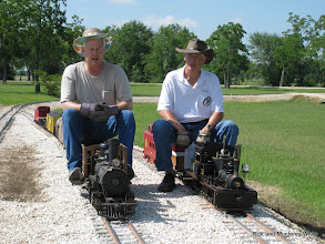 Photo: Two 1.5 inch scale narrow gauge locos, Phillip Bell and Doug Blodgett.  HALS-SLWS 2009-0522