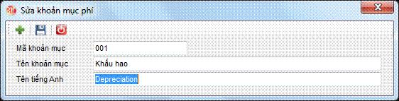 Danh mục khoản mục phí phần mềm kế toán 3tsoft