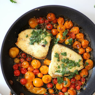 Slow Roasted Halibut with Burst Tomatoes and Gremolata Recipe