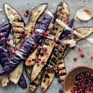 Grilled Eggplants With Tahini And Pomegranate.