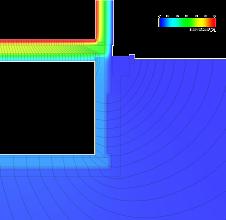 Photo: Antherm Auswertung des unkonditionierten Kellers mit Wärmestromlinien ausgehend von dem Kellerraum. Innentemperatur 20°C, Kellertemperatur 9,57°C (Jahresmittel), Außentemperatur 7,98°C (Jahresmittel). L2D,c,i = 0,519W/mK, 54 Intervalle. Entspricht 0,1W/m Abstand