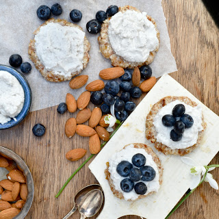 Raw Coconut Blueberry Tarts.
