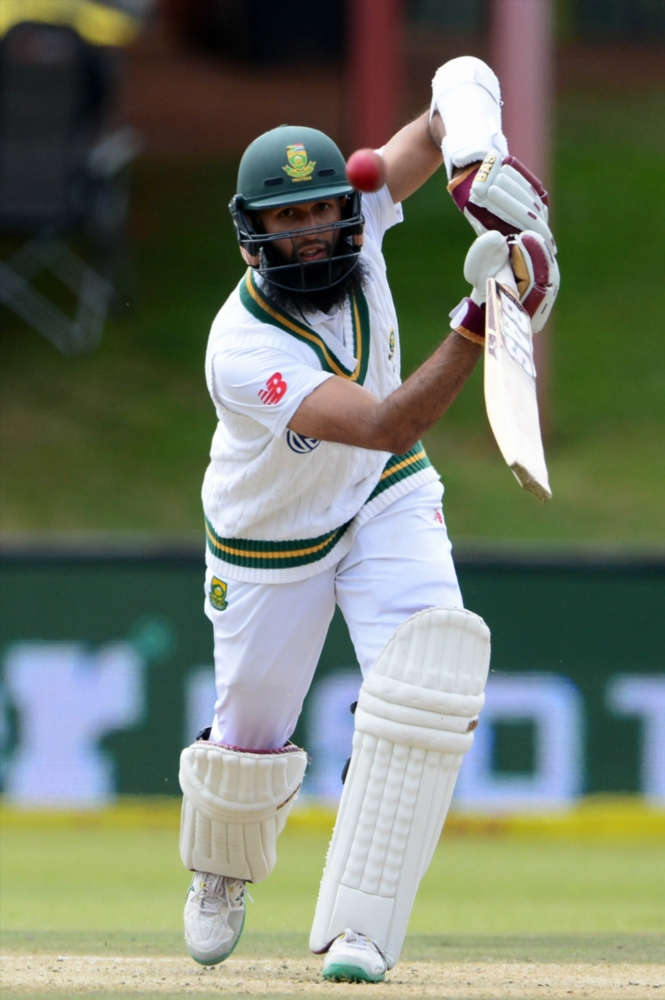 Hashim Amla during day 2 of the 2nd Sunfoil Test match between South Africa and Bangladesh at Mangaung Oval on October 07, 2017 in Bloemfontein.