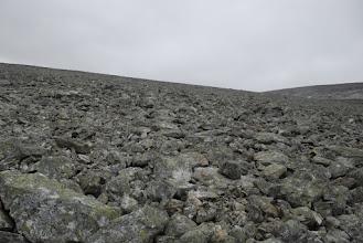 Kuva: Gieddeoaivin pohjoisrinnettä. Tämä kivikko on jo ylitetty, onneksi keli pysyi vielä kuivana