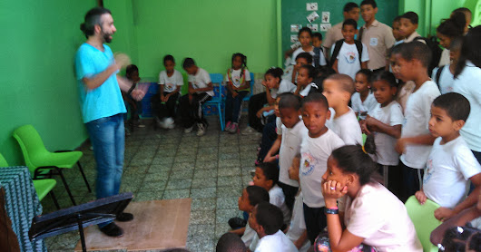 Andrew Nemr's activity with students at school Divina Pastora, Santo Domingo, Dominican Republic