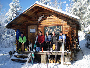 Photo: Geezers in the sunshine, Cece's Cabin - Larch Hills