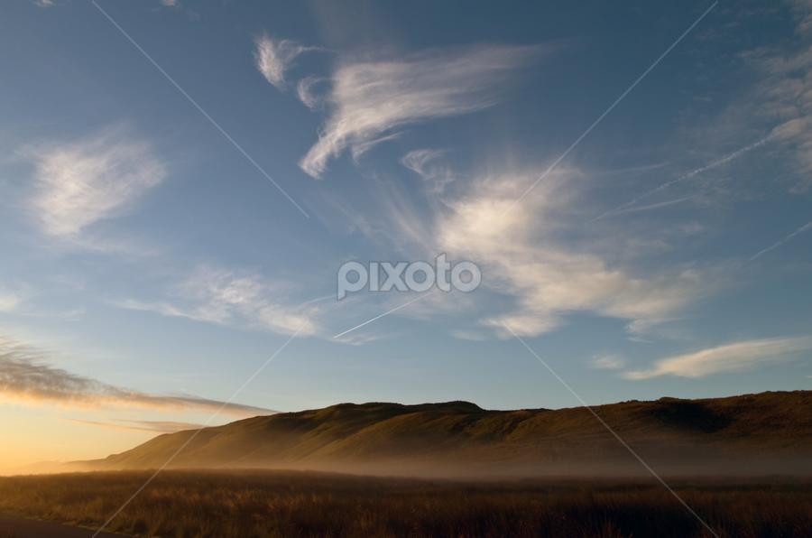 Misty Morning Sunrise by Dave Hancox - Landscapes Weather ( scotland sun, fog, weather, morning, golden, mist )