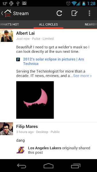 Photo: The comments and article are both shared from the Pulse News app into the Google+ stream.