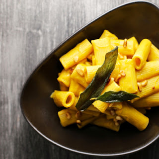 Rigatoni with Vegan Butternut Sage Cream Sauce and Toasted Pine Nuts.