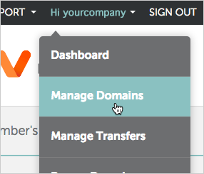 Manage Domains option