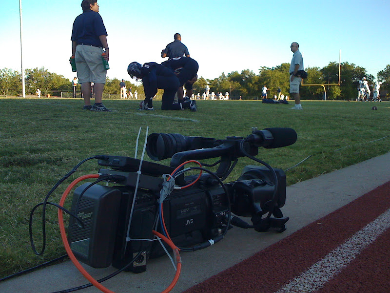 Photo: Here's my handheld camera.  We ran tactical fiber to the truck, which carried audio and video only.