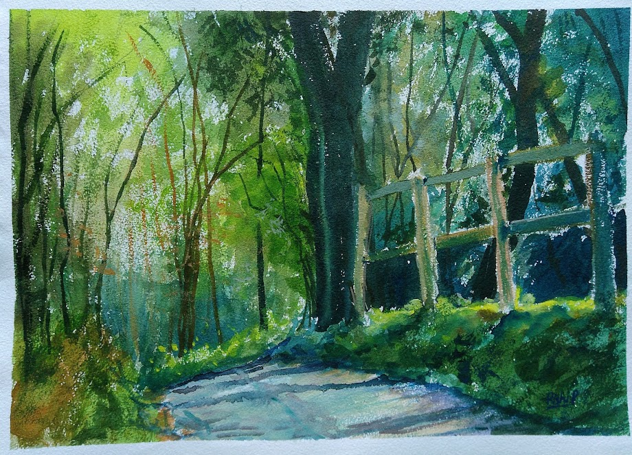 Watercolour - Wotton hill forrest road