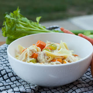 Homemade Creamy Chicken Noodle Soup.