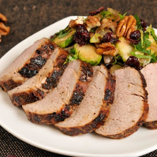 Winter-Rub Pork Tenderloin With Shaved Brussels Sprouts, Cranberry, and Pecan Sauté