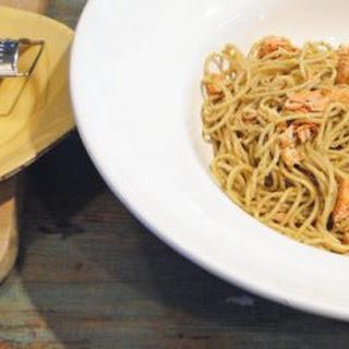 Steamed Salmon Pesto Spaghetti.