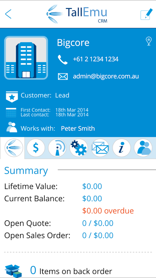 Tall Emu Mobile CRM- screenshot