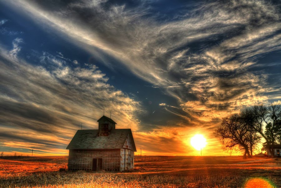 Goodnight  by Casey Mitchell - Landscapes Sunsets & Sunrises ( crib, sunset, farming,  )