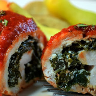 Curly Kale & Goat Cheese Stuffed Chicken w/Roasted Red Pepper Puree.