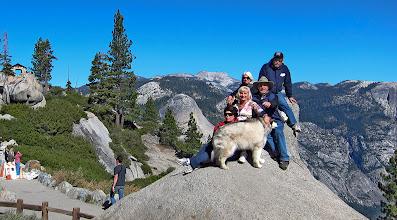 Photo: Glacier Pt bldg at top left.  The gang on portrait-rock. #2830