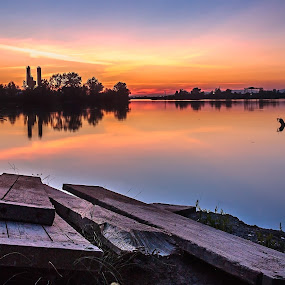Sunset at lake by Dražen Škrinjarić - Landscapes Sunsets & Sunrises ( water, europe, colorful, color, sunset, croatia, summer, lake, zagreb,  )