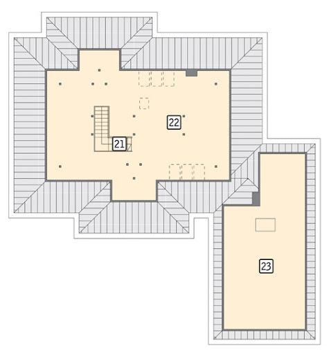 Wokół kominka - etap I - M113 - Rzut poddasza II etap realizacji - do indywidualnej aranżacji (58,5 m2 powierzchni użytkowej)