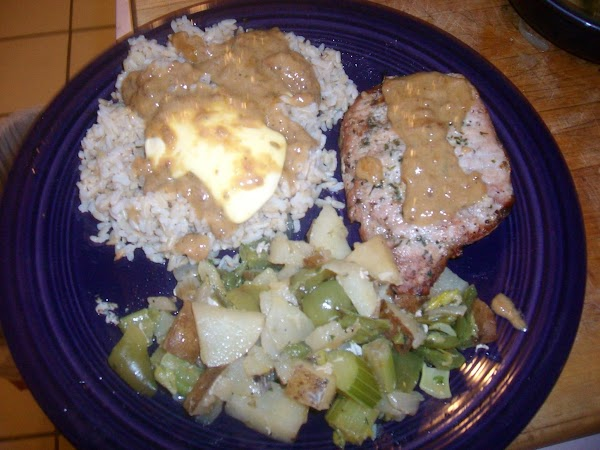 Boiled & Grilled Pork Chops With Veggies & Rice Recipe