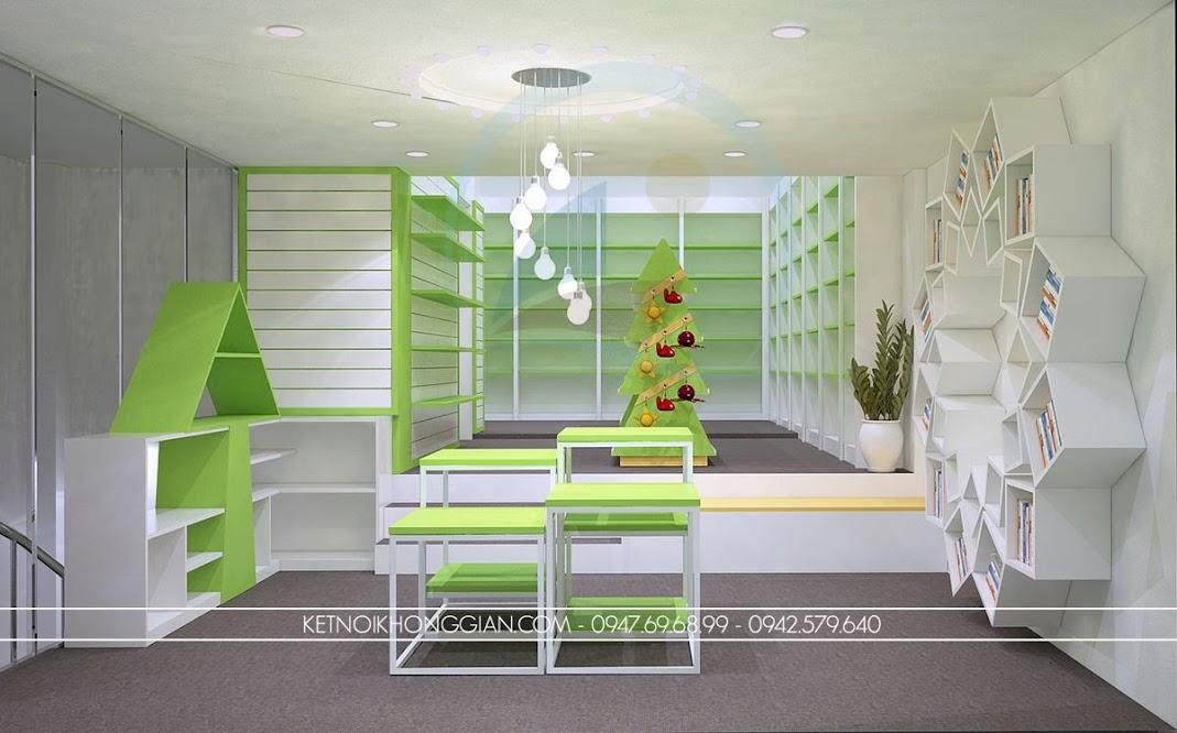 thiết kế nội thất nhà sách 250m2